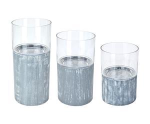 3 Lanternes, verre et bois