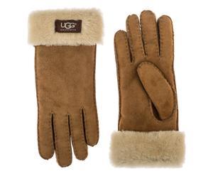 Paire de gants CLASSIC TURN CUFF GLOVE peau de mouton, camel et beige, Taille : S