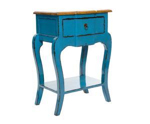 Table de chevet Chêne, Bleu – H77