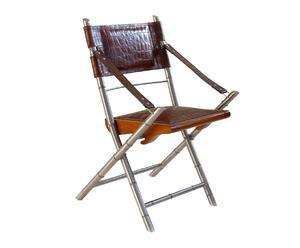 Chaise pliable parker, acier et cuir - L54