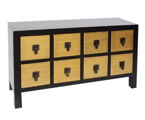 Commode chinoise bois, doré – 8 tiroirs