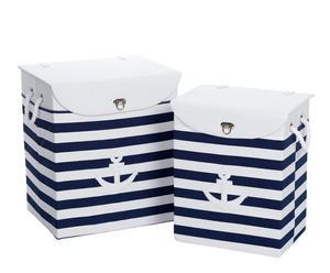 2 Paniers Toile, Bleu marine et blanc