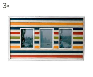3 Cadres Bois de pin, Multicolore - L60