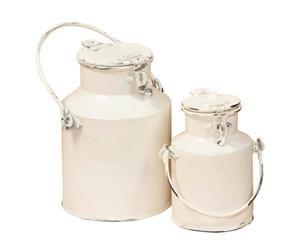 2 Pots à lait, Métal - Blanc