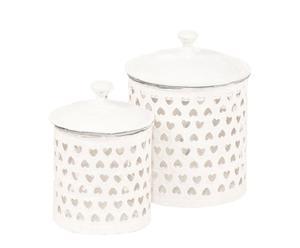 2 Pots, Métal - Blanc