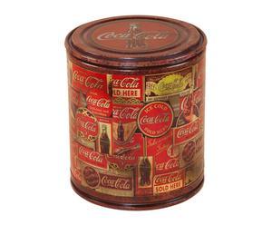 Corbeille avec couvercle Coca Cola Bois et fer - H43