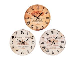3 Horloges murales, bois de pin