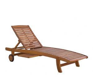 Chaise longue Eucalyptus et aluminium, Naturel - L137