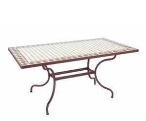Table Fer et céramique, Blanc et gris - L49