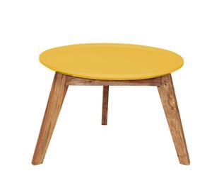 Table basse Jeyo, triangular - Jaune et naturel - H40