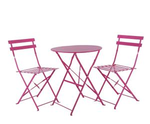 Table et 2 Chaises Métal, Rose - Ø60