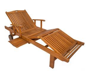 Chaise longue de jardin Teck, naturel - L200