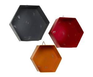 3 Etagères Métal, Gris - rouge et orange