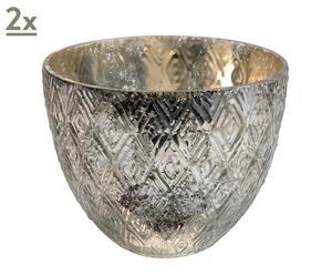 2 Vases verre , Argent – H15