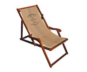 Chaise longue, Bois et toile de jute – L60