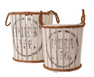 2 Bougeoirs cylindriques, Bois et corde