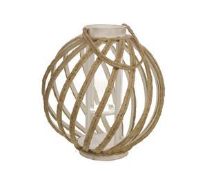 Lanterne Bois et corde, Naturel - Ø39