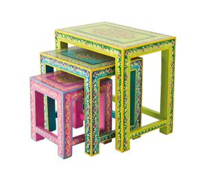 3 Tables gigognes, Bois de manguier - Multicolore