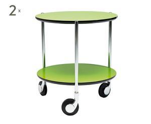 2 Tables à roulettes MDF et acier, Vert - Ø40