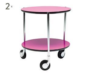 2 Tables à roulettes MDF et acier, Rose - Ø40