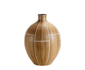 Vase JODY bambou et terre cuite, Brun – Ø40