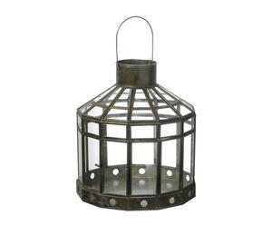 Lanterne Verre et métal, Noir - H23