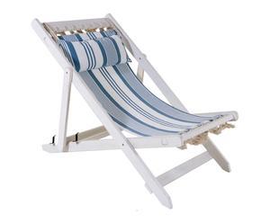 Chaise longue rayé Bois, Blanc et bleu - L116