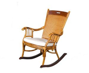 Rocking-chair Rotin,  Marron clair et Blanc - L66