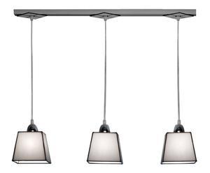 Suspension à 3 abat-jours Tiffany Verre et fer, blanc et noir - L74