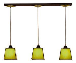 Suspension à 3 abat-jours Tiffany Verre et fer, vert et brun - L74