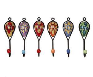 6 Porte-manteaux, Multicolore - H16
