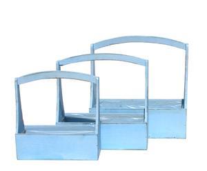 3 Jardinières, épinette vieilli et plastique - Bleu