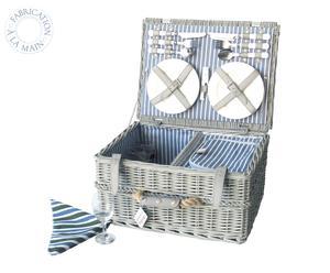 Panier de pique-nique Osier, Blanc et bleu - 4 Personnes
