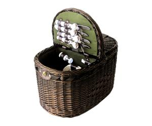 Panier à pique-nique osier et coton, naturel et vert - 53*33