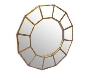 Miroir Bois contreplaqué et miroir, Or - Ø97