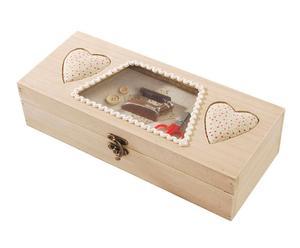 Boîte à couture paulownia et tissu, Beige  - L30