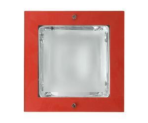 Applique murale Fer et verre, Rouge et transparent - L16,