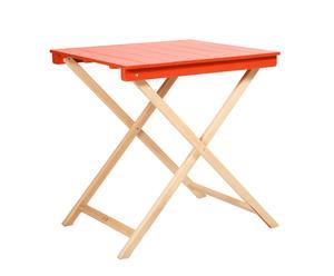 TABLE HÊTRE, NATUREL ET ROUGE - 60*60