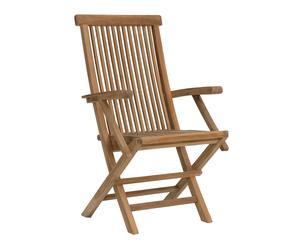 Chaise pliante teck, Marron - H98