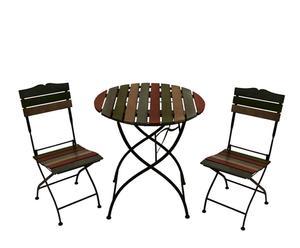 Table et 2 chaises, Fer et Pin - Noir et multicolore