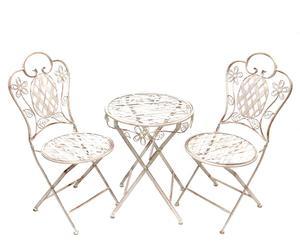 Table et deux chaises, Fer - Blanc patiné
