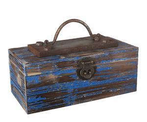 Boîte à outils Métal et bois de Pin, Rouille et bleu - L31