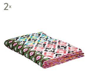 2 Couvertures Coton, Multicolore - 220*155