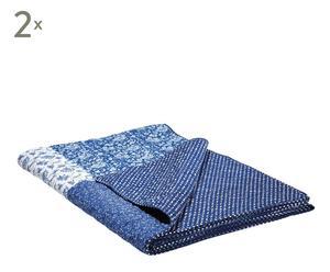 2 Couvertures Coton, Bleu et blanc - 220*155
