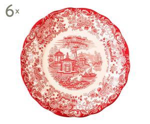6 Assiettes plates AURORA Porcelaine anglaise, rouge et blanc - Ø26