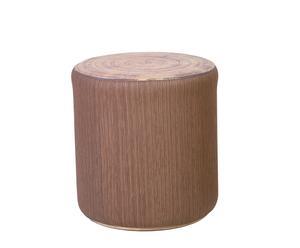 Pouf Similicuir, mousse et bois, Marron - Ø45