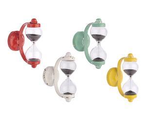 4 Sabliers muraux ARTHUR plastique et fer, multicolore - H7