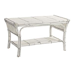 Table basse CLARA rotin, blanc - L90