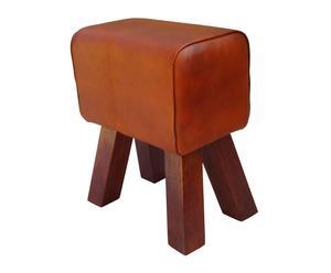 Tabouret bois de manguier et cuir, marron - L40