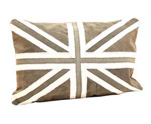 Coussin BRITISH coton et mousse, noir et blanc - L60